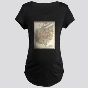 Vintage Map of Ohio (1827) Maternity T-Shirt
