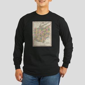 Vintage Map of Ohio (1827) Long Sleeve T-Shirt