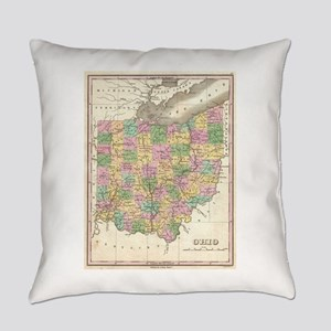 Vintage Map of Ohio (1827) Everyday Pillow