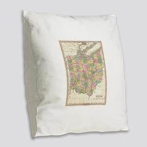 Vintage Map of Ohio (1827) Burlap Throw Pillow