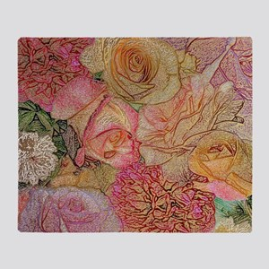 A Field Of Roses With Golden Highlig Throw Blanket