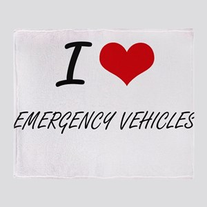 I love EMERGENCY VEHICLES Throw Blanket