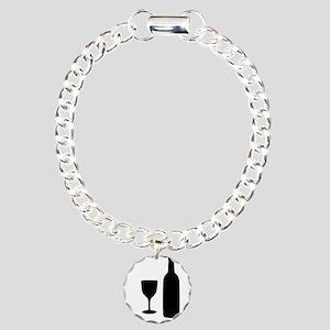 Wine Silhouette Charm Bracelet, One Charm