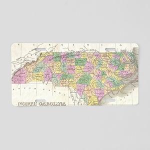Vintage Map of North Caroli Aluminum License Plate