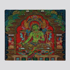The Green Tara Throw Blanket