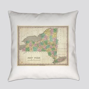 Vintage Map of New York (1827) Everyday Pillow