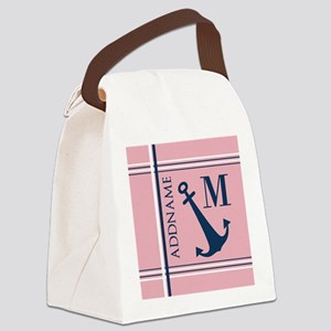 Navy Blue Anchor with Nautical St Canvas Lunch Bag