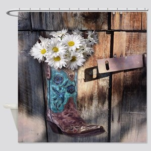 Rustic Western Country Cowboy Boots Shower Curtain