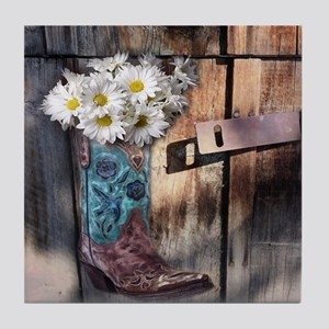 rustic western country cowboy boots Tile Coaster