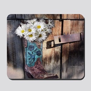 rustic western country cowboy boots Mousepad