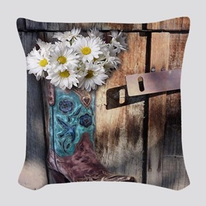 rustic western country cowboy  Woven Throw Pillow