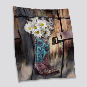 rustic western country cowboy  Burlap Throw Pillow