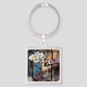 rustic western country cowboy boot Square Keychain