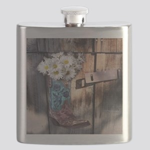 rustic western country cowboy boots Flask