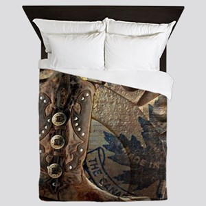 rustic western country cowboy boots Queen Duvet