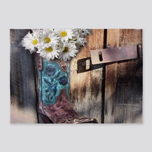 rustic daisy western country cowgir 5'x7'Area Rug