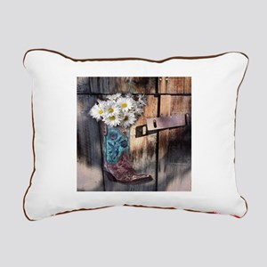 rustic daisy western cou Rectangular Canvas Pillow