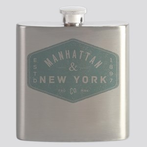 Manhattan New York City Vintage Logo light b Flask