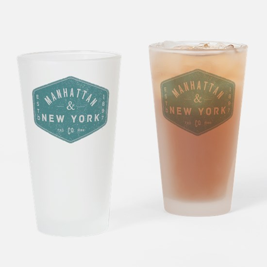 Manhattan New York City Vintage Log Drinking Glass