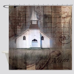 modern western country chapel Shower Curtain