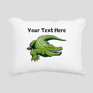 Green Alligator Rectangular Canvas Pillow