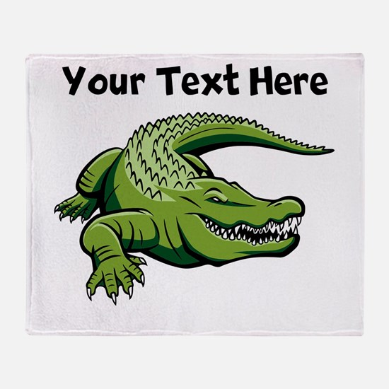 Green Alligator Throw Blanket