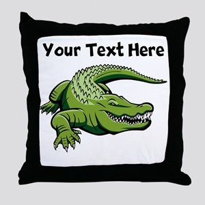 Green Alligator Throw Pillow