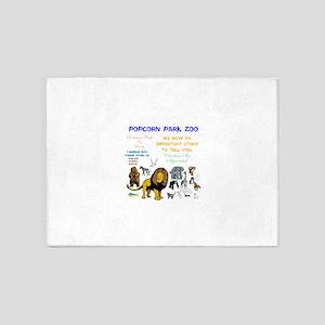POPCORN PARKS ZOO STORY. TWINKLING 5'x7'Area Rug