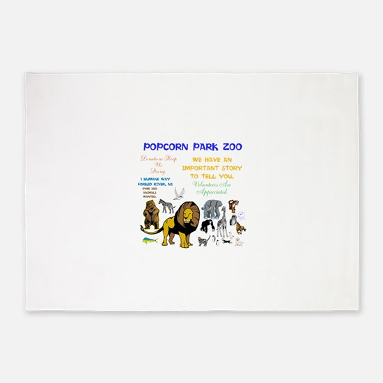POPCORN PARKS ZOO STORY. TWINKLING 5'x7'Area Rug