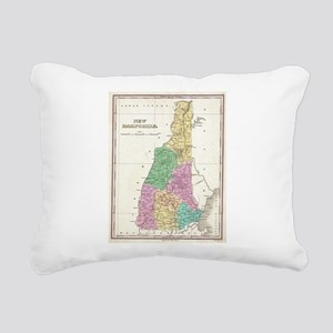 Vintage Map of New Hamps Rectangular Canvas Pillow