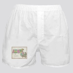 Vintage Map of Massachusetts (1827) Boxer Shorts