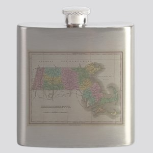 Vintage Map of Massachusetts (1827) Flask