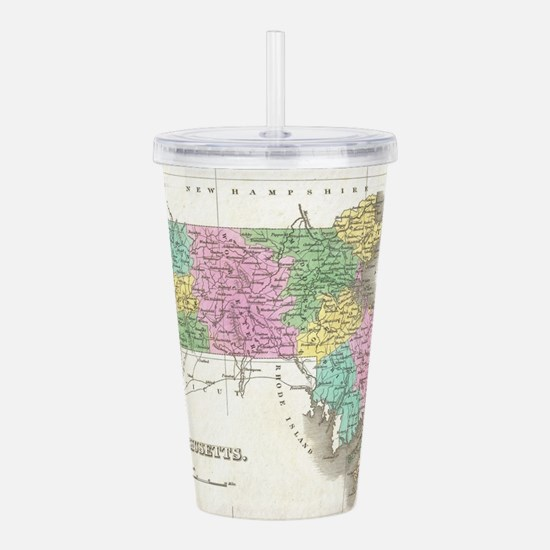Vintage Map of Massach Acrylic Double-wall Tumbler