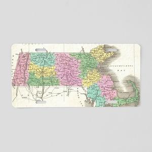 Vintage Map of Massachusett Aluminum License Plate