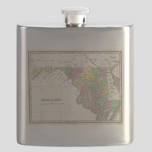 Vintage Map of Maryland (1827) Flask