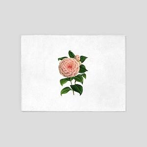 Pretty Vintage Pink Flower 5'x7'Area Rug