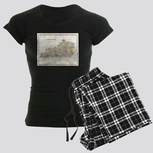 Vintage Map of Kentucky (182 Women's Dark Pajamas