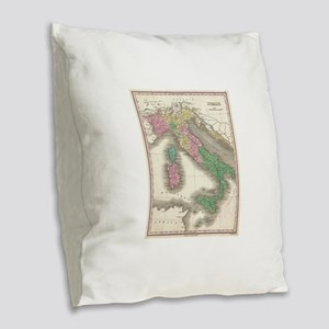 Vintage Map of Italy (1827) Burlap Throw Pillow