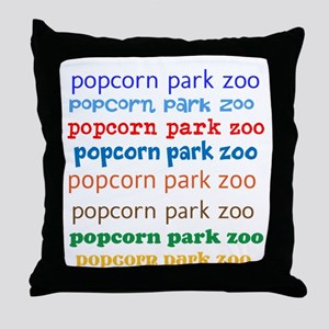 POPCORN PARK ZOO LETTERING. Throw Pillow