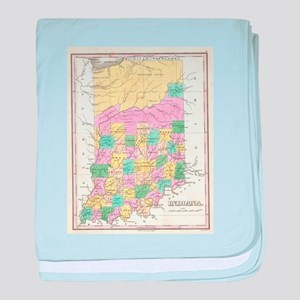 Vintage Map of Indiana (1827) baby blanket