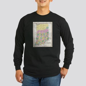 Vintage Map of Indiana (1827) Long Sleeve T-Shirt