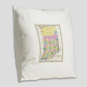 Vintage Map of Indiana (1827) Burlap Throw Pillow