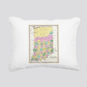 Vintage Map of Indiana ( Rectangular Canvas Pillow