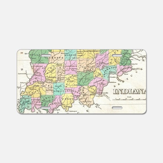 Vintage Map of Indiana (182 Aluminum License Plate