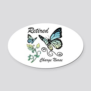 Retired Charge Nurse Oval Car Magnet
