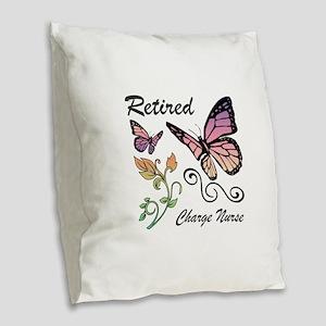 Retired Charge Nurse Burlap Throw Pillow