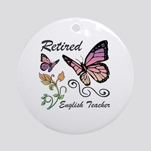 Retired English Teacher Round Ornament