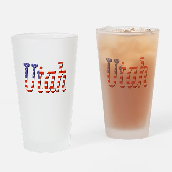 Patriotic Utah Drinking Glass