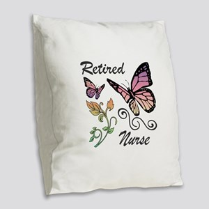 Retired Nurse Burlap Throw Pillow