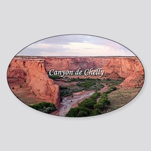 Canyon de Chelly at sunset (caption Sticker (Oval)